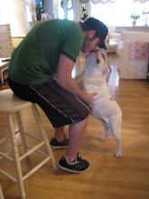 My son Shayne & Lulu our Victorian Bulldog