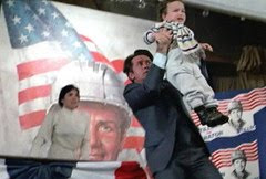 Candidate Charlie Sheen uses a child to shield himself from sniper