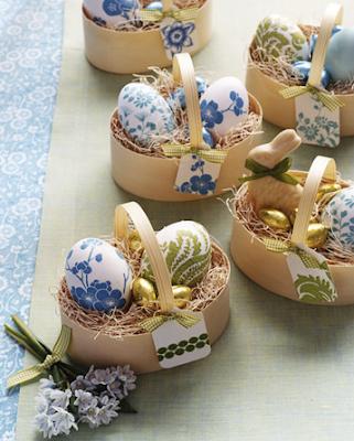 Paper napkin decoupage eggs by Martha Stewart