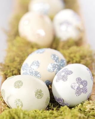 Glitter sticker eggs by Martha Stewart