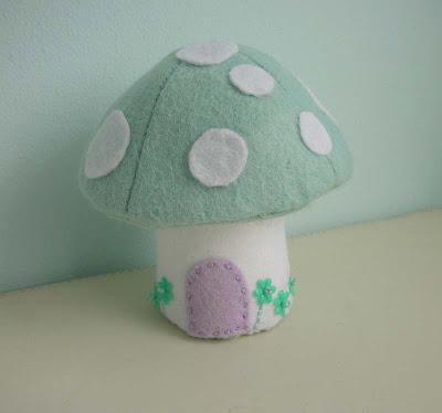 Green felt Easter mushroom
