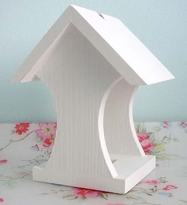 Primed wooden bird feeder
