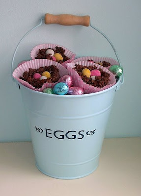 Bucket of chocolate nests
