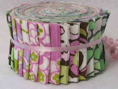 Jelly roll of Daisy Chain Fabric on Etsy