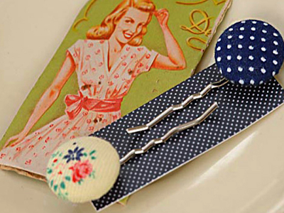 May vintage fabric hairslides by Acorn and Will
