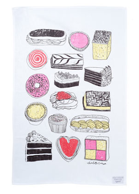Naughty but nice tea towel by Charlotte Farmer