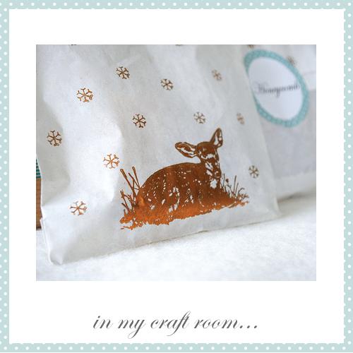 Deer printed bags of honeycomb by Torie Jayne