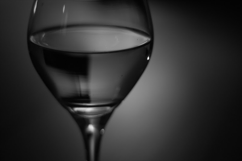 black and white photo of white wine