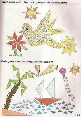 ARTES4 Arte : Recorte e colagem com figuras geométricas. para crianças