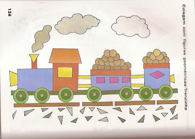 ARTES5 Arte : Recorte e colagem com figuras geométricas. para crianças