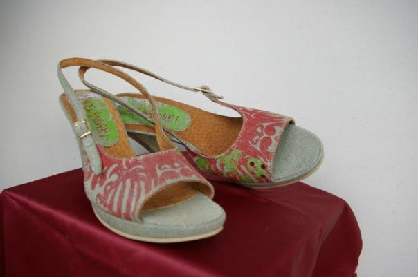 Denim & leather printed sandals with swarovsky cristals