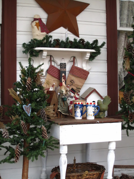 rustic country christmas front porch