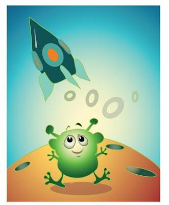UFO reklámfigura ûrhajó character design spaceship