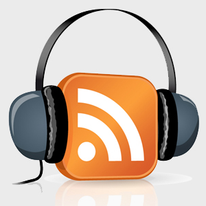 Clipart of a RSS feed icon wearing headphones