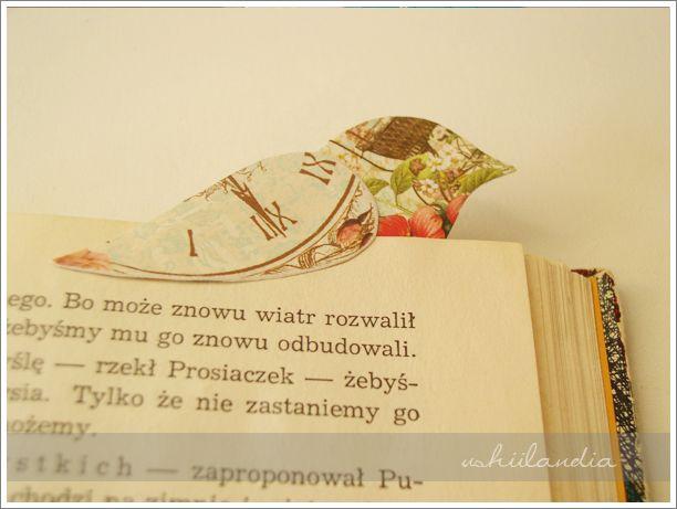 zakładka do ksiązki ptaszek - scrapbooking ushii