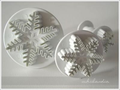 foremki do ciastek - z wypychaczem odciskające wzór, śniezynki