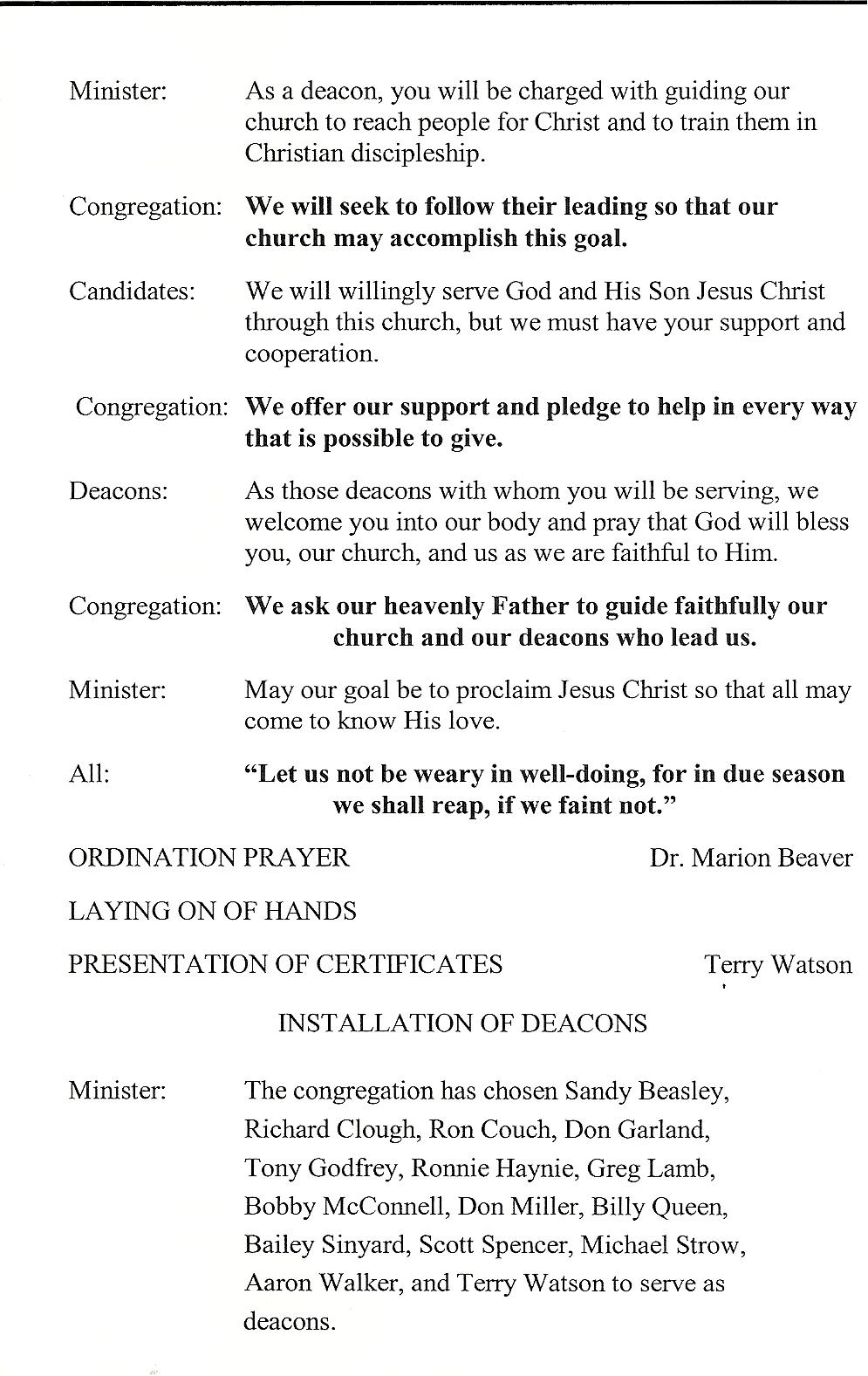First Baptist Church, Lithia Springs...a History: Deacon Ordination, 2009