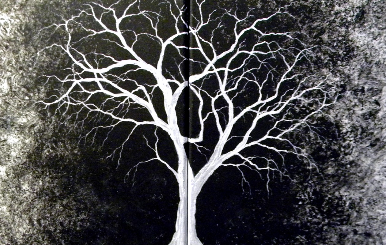 introverted painting white tree original painting