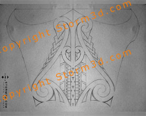 lower leg maori kiri tuhi tribal tattoo design symmetrical