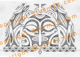 polynesian mask tattoo designs symmetrical lizard images