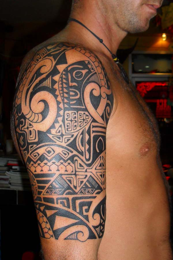 Polynesian style tribal chest tattoo. A few months ago he ordered shoulder