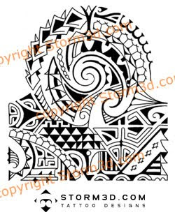 polynesian shoulder tribal tattoo mix design