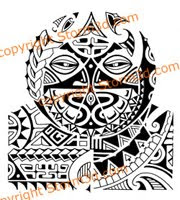 tribal polynesian tattoo with masks shoulder