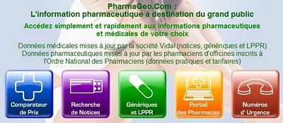 extrait écran d'accueil de pharmageo.com