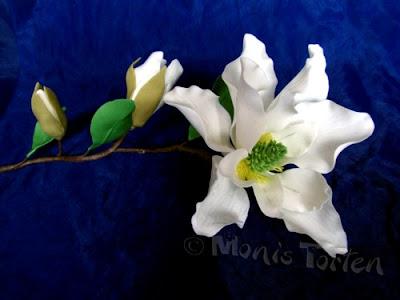 Magnolienzweig aus Blütenpaste