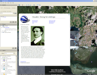 Harry Houdini a Suva da Google Earth