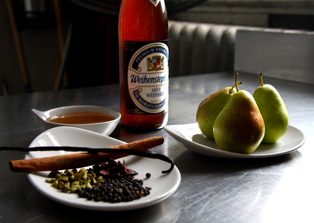 weissbier poached pears recipe
