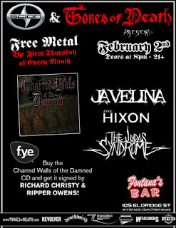 Charred Walls of the Damned (Metal Blade) are Having a Listening Party and CD Signing at Fontana's on Feb. 2nd