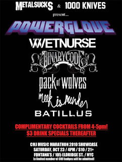 Powerglove Headlines Metalsucks + 1000 Knives CMJ Showcase on Oct. 23rd
