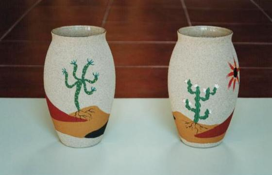 Elhadarenas jarrones de cristal pintados sobre arena - Jarrones de cristal decorados ...