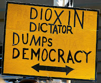 Sign, Pulpmill protest, Parliament House 'Dioxin Dictator Dumps Democracy' - 22 Mar 2007