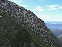 The slopes above the southern end of the Organ Pipes, Mt Wellington, viewed from the ZigZag Track - 16 June 2007