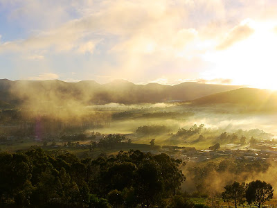 Huonville and Wellington Range from Huonville lookout - 17 June 2007