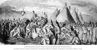 Asentamiento de indios de la pradera de Norteamerica
