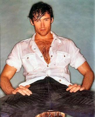 Hugh Jackman posando mojado