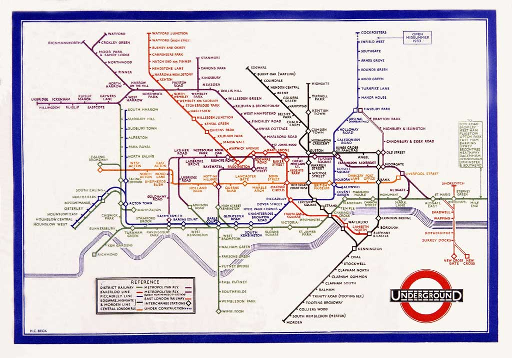 Harry beck's 1933 london underground map