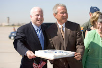 Bush Celebrates McCain Birthday during Hurricane Katrina