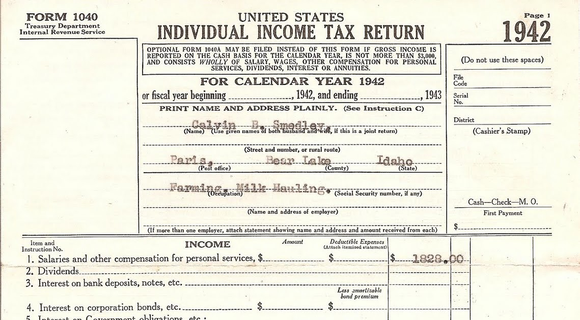 Lost family treasures treasure chest thursday 1942 tax for 1040 tax table 2010