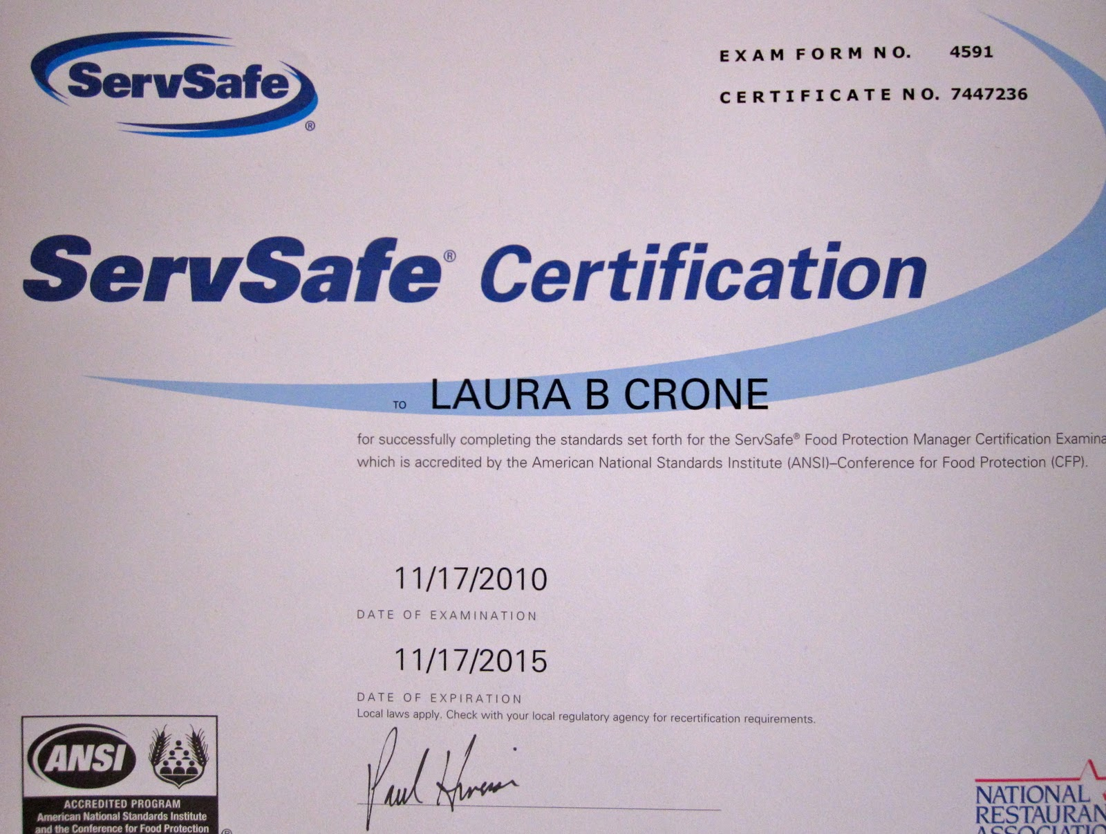 Brooks' Portfolio: Servsafe certification