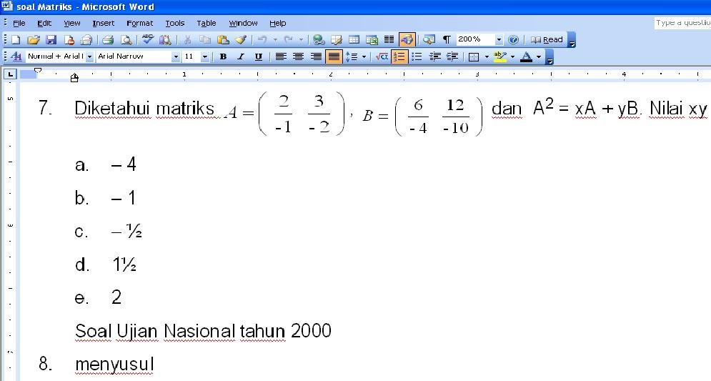 Matematika Sma Soal Matriks