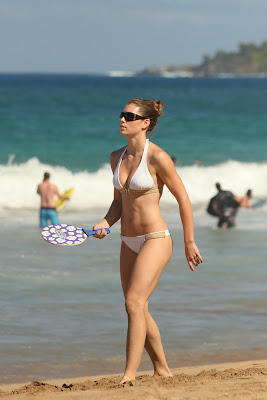 Jessica Beil in a White Bikini Beach Candid Picture
