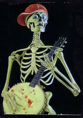 thriller book cover with Skeleton playing a banjo