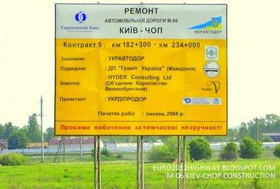 Знак реконструкции автодороги М-06