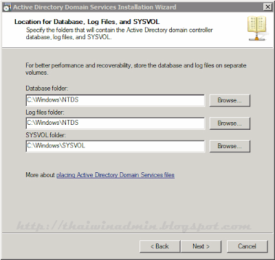 Location of Database. Log Files. and SYSVOL
