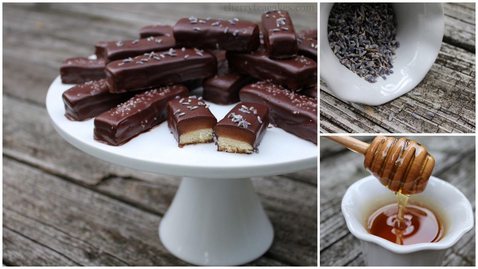 Cherry Tea Cakes: Lavender Honey Caramel Candy Bars