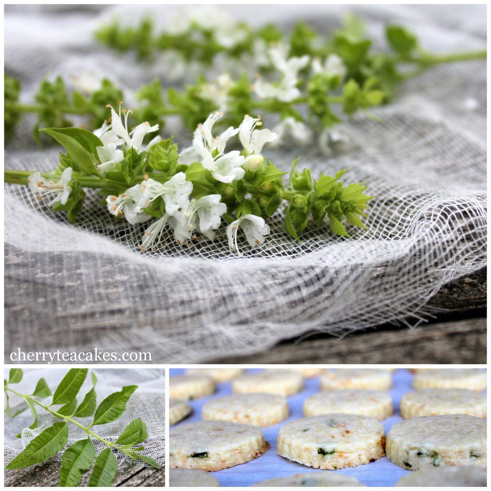 basil flowers, lemon verbena and lemon basil shortbread cookies